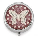 Silver-tone Enamel Butterfly Pillbox – Engravable Personalized Gift Item