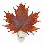 Iridescent Copper Dipped Sugar Maple Leaf Nightlight