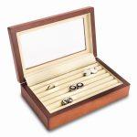 Cherry Black Wood Cufflink Box W/glass Top & Velour Lining