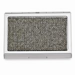 Silver-tone Grey Crystal Business Card Case