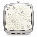 Silver-Tone and Enamel Compact Mirror – Engravable Personalized Gift Item