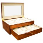 Large Burlwood Finish Watch Case and Display