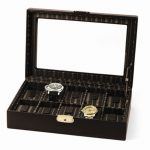 Leather Ten Watch Case w/Glass Top & Locking Clasp Available in Brown/Black