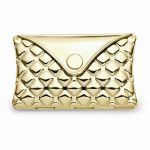 Gold-toned Quilt Patterned Envelope Compact Mirror – Engravable Gift Item