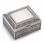 Pewter-tone Finish Floral Square Jewelry Box – Engravable Personalized Gift Item