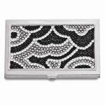 Black and White Swarovski Crystal Business Card Case – Engravable Gift Item