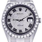 Rolex Datejust II Watch / 41 MM / Custom Diamond Pave Roman Dial / Oyster Band