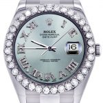 Rolex Datejust II Watch / 41 MM / Custom Light Blue Diamond Roman Dial / Oyster Band
