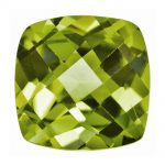 Loose Peridot Gemstone 6mm Cushion Checkerboard AA Quality
