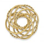 14k Gold Hollow Swirled Designer Pin