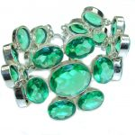 Green Attraction Created Emerald Sterling Silver Bracelet