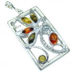 Genuine Multicolor Baltic Polish Amber Sterling Silver Pendant
