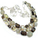 Ray Of Light!! Golden Calcite & Citrine & Smoky Topaz Sterling Silver necklace