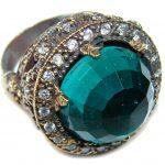 Victorian Style! Green Quartz & White Topaz Sterling Silver Ring s. 8