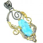 Beautiful AAA Blue Larimar, Gold Plated, Rhodium Plated Sterling Silver Pendant