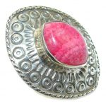 Chunky Natural Beauty AAA Pink Rhodochrosite Sterling Silver ring s. 6 1/4
