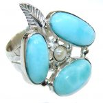 Delicate Beauty! AAA Blue Larimar Sterling Silver Ring s. 7 1/4