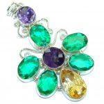 Fashion Multicolor Dichroid Glass Sterling Silver pendant