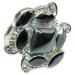 Fashion Beauty! Hematite Sterling Silver Ring s. 10