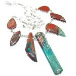 Secret Beauty!! Red Sonora Jasper Sterling Silver Necklace