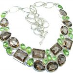 Pale Beauty! Created Smoky Topaz & Green Quartz Sterling Silver necklace