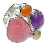Sweet Pink Rhodochrosite Sterling Silver Ring s. 6 3/4 adjustable