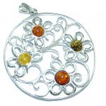 Amazing Design! Baltic Polish Amber Sterling Silver Pendant