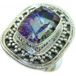 Exotic Style! Rainbow Magic Topaz Sterling Silver Ring s. 9 1/4