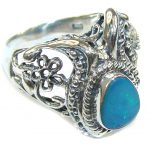 Delicate Japanese Blue Fire Opal Sterling Silver ring s. 8 1/2