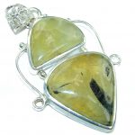 Big! Secret AAA Green Moss Prehnite Sterling Silver Pendant