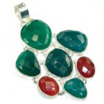 Large! Garden Beauty! Faceted AgateSterling Silver Pendant