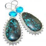 Fabulous Parrot's Wing's Chrysocolla Sterling Silver earrings