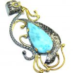 Melody Blue Larimar, Gold Plated, Rhodium Plated Sterling Silver pendant