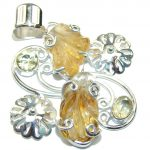 Golden River Carved Yellow Citrine Sterling Silver Pendant
