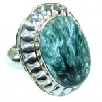 Amazing Green Seraphinite Sterling Silver Ring s. 10