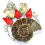 Big! Fashion Brown Ammonite Fossil Sterling Silver Pendant