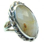 Exotic Style Golden Rutilated Quartz & Citrine Sterling Silver ring s. 7 1/4