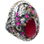 Victorian Style Red Ruby & White Topaz Sterling Silver Ring s. 6 1/4