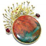 Venus of the Sea Red Sonora Jasper Sterling Silver Pendant