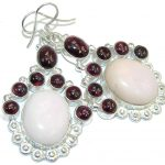 Perfect One of the Kind Pink Opal Sterling Silver earrings