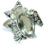 Huge Green Amethyst Sterling Silver Ring s. 8 3/4