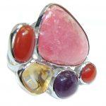 Aura Of Beauty Pink Rhodochrosite Sterling Silver Ring s. 7 adjustable