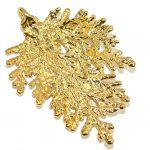 Big! Gold Plated Leaf Sterling Silver Pendant