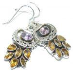 Genuine Amethyst & Citrine Sterling Silver Earrings