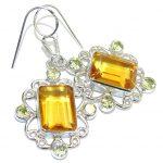 Fashion Beauty Orange Quartz Peridot Sterling Silver earrings