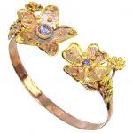 Genuine Light Blue Tanzanite, Rose & Gold Plated Sterling Silver Bracelet / Cuff