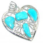 Lovely Sleeping Beauty AAA Turquoise Sterling Silver Pendant