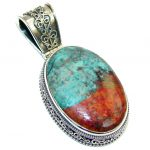 Perfect AAA Red Sonora Jasper Sterling Silver Pendant