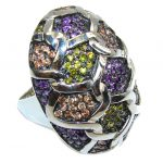 Big! Fashion Purple Amethyst Sterling Silver Ring s. 6