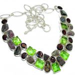 Fashion Beauty Rough Tourmaline & Garnet Sterling Silver Necklace